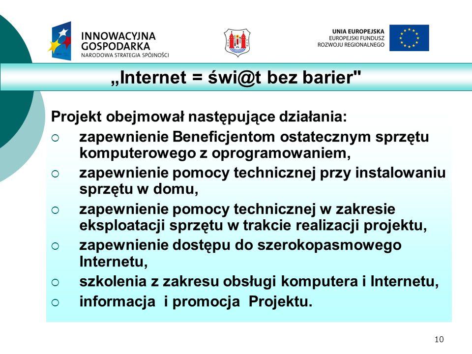 10 Projekt obejmował następujące działania:  zapewnienie Beneficjentom ostatecznym sprzętu komputerowego z oprogramowaniem,  zapewnienie pomocy technicznej przy instalowaniu sprzętu w domu,  zapewnienie pomocy technicznej w zakresie eksploatacji sprzętu w trakcie realizacji projektu,  zapewnienie dostępu do szerokopasmowego Internetu,  szkolenia z zakresu obsługi komputera i Internetu,  informacja i promocja Projektu.