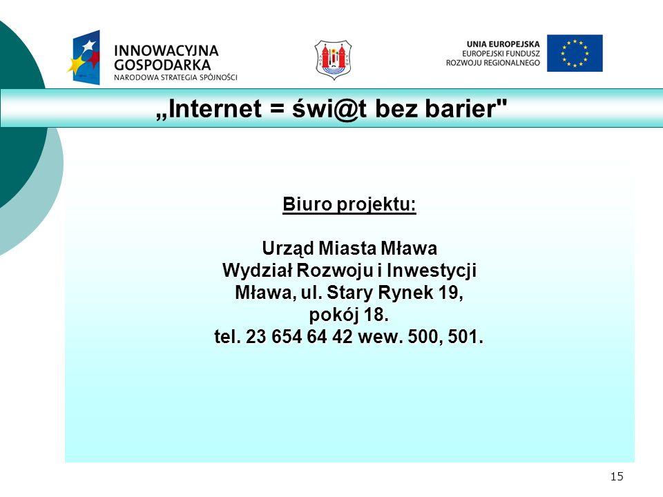 15 Biuro projektu: Urząd Miasta Mława Wydział Rozwoju i Inwestycji Mława, ul.