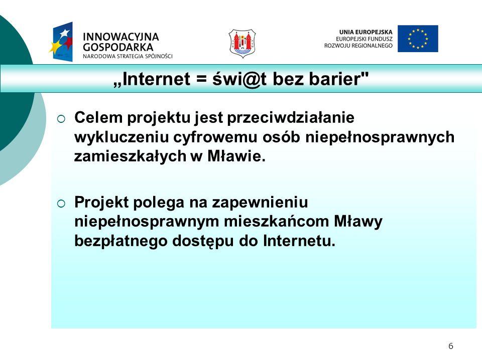6  Celem projektu jest przeciwdziałanie wykluczeniu cyfrowemu osób niepełnosprawnych zamieszkałych w Mławie.