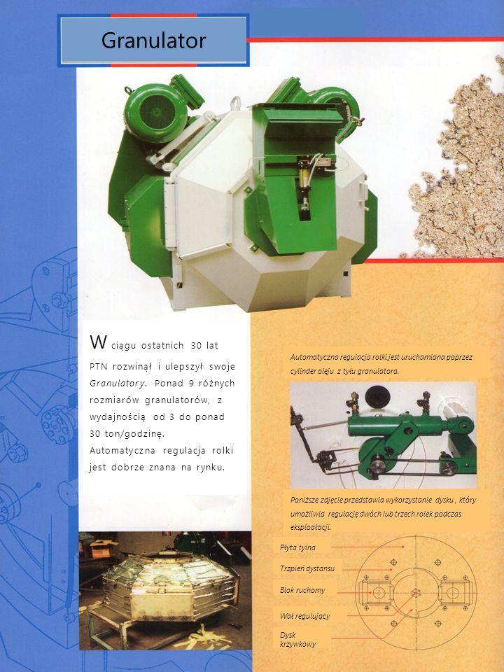 Granulator W ciągu ostatnich 30 lat PTN rozwinął i ulepszył swoje Granulatory. Ponad 9 różnych rozmiarów granulatorów, z wydajnością od 3 do ponad 30