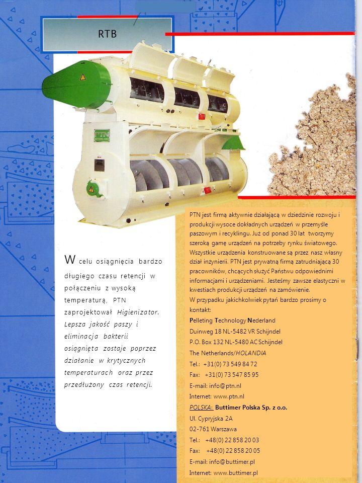 W celu osiągnięcia bardzo długiego czasu retencji w połączeniu z wysoką temperaturą, PTN zaprojektował Higienizator. Lepsza jakość paszy i eliminacja
