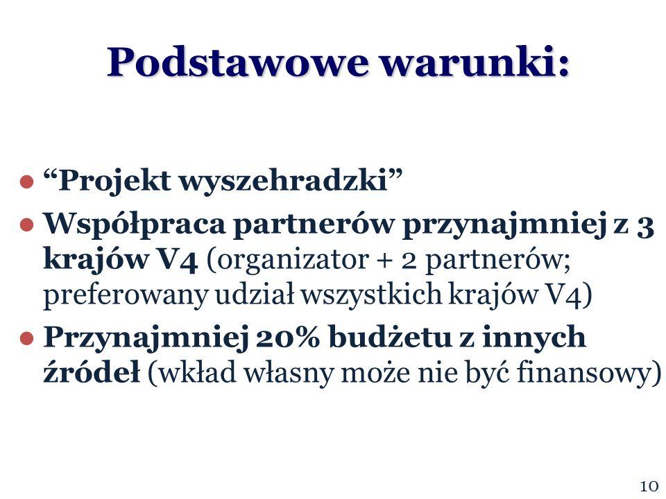 Podstawowe warunki: Projekt wyszehradzki Współpraca partnerów przynajmniej z 3 krajów V4 (organizator + 2 partnerów; preferowany udział wszystkich krajów V4) Przynajmniej 20% budżetu z innych źródeł (wkład własny może nie być finansowy) 10