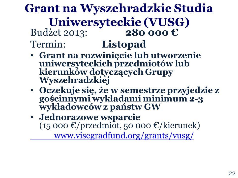 Budżet 2013:280 000 € Termin: Listopad Grant na rozwinięcie lub utworzenie uniwersyteckich przedmiotów lub kierunków dotyczących Grupy Wyszehradzkiej Oczekuje się, że w semestrze przyjedzie z gościnnymi wykładami minimum 2-3 wykładowców z państw GW Jednorazowe wsparcie (15 000 €/przedmiot, 50 000 €/kierunek) www.visegradfund.org/grants/vusg/ Grant na Wyszehradzkie Studia Uniwersyteckie (VUSG) 22