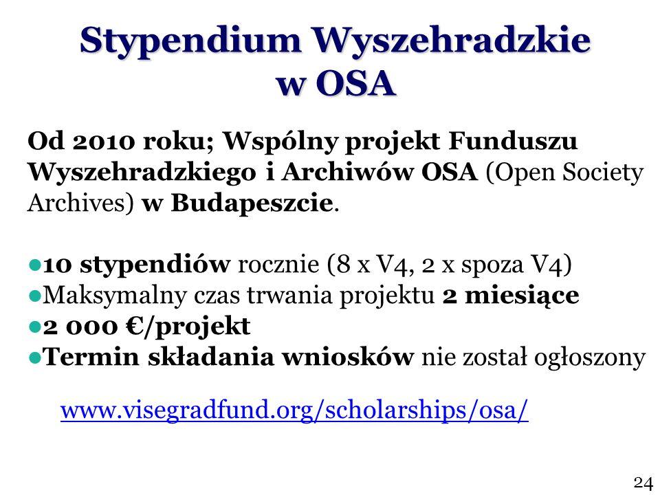 Stypendium Wyszehradzkie w OSA Od 2010 roku; Wspólny projekt Funduszu Wyszehradzkiego i Archiwów OSA (Open Society Archives) w Budapeszcie.