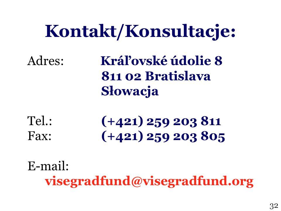 Kontakt/Konsultacje: Adres: Kráľovské údolie 8 811 02 Bratislava Słowacja Tel.: (+421) 259 203 811 Fax:(+421) 259 203 805 E-mail: visegradfund@visegradfund.org 32