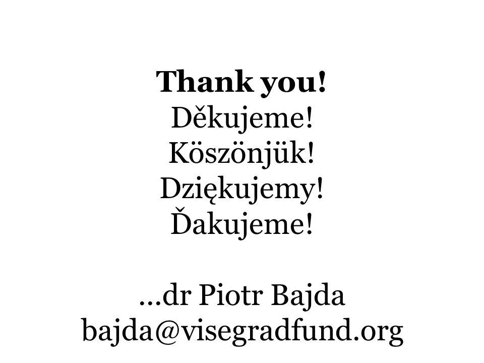 Thank you! Děkujeme! Köszönjük! Dziękujemy! Ďakujeme!...dr Piotr Bajda bajda@visegradfund.org