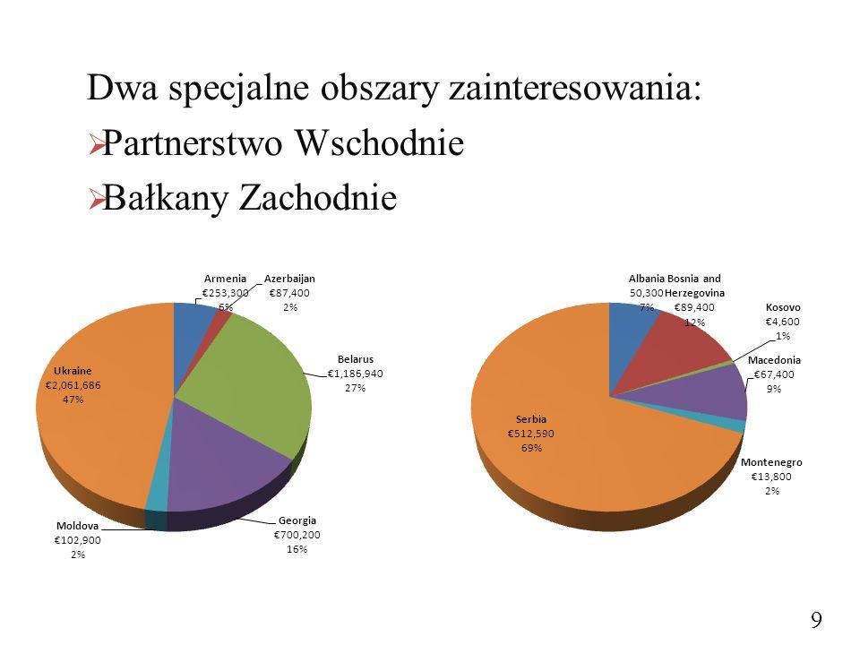 Dwa specjalne obszary zainteresowania:  Partnerstwo Wschodnie  Bałkany Zachodnie 9