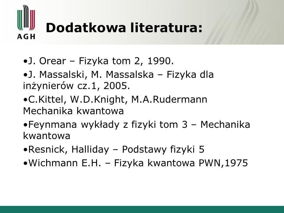 Dodatkowa literatura: J. Orear – Fizyka tom 2, 1990.
