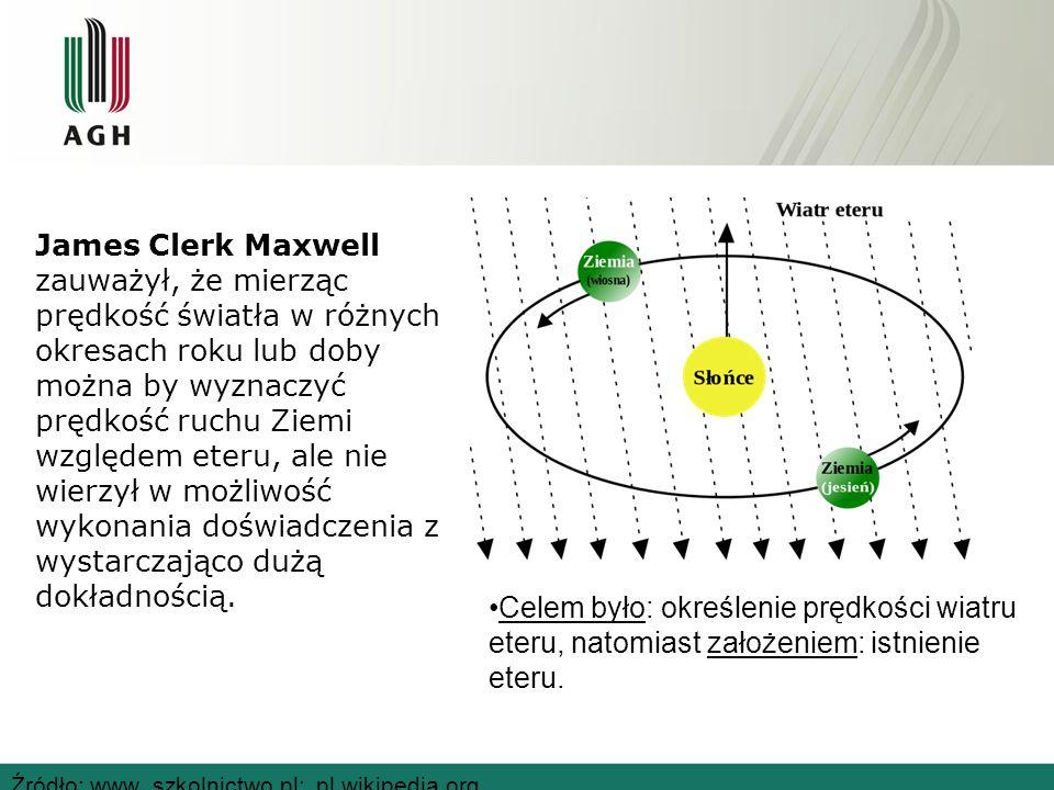 James Clerk Maxwell zauważył, że mierząc prędkość światła w różnych okresach roku lub doby można by wyznaczyć prędkość ruchu Ziemi względem eteru, ale nie wierzył w możliwość wykonania doświadczenia z wystarczająco dużą dokładnością.