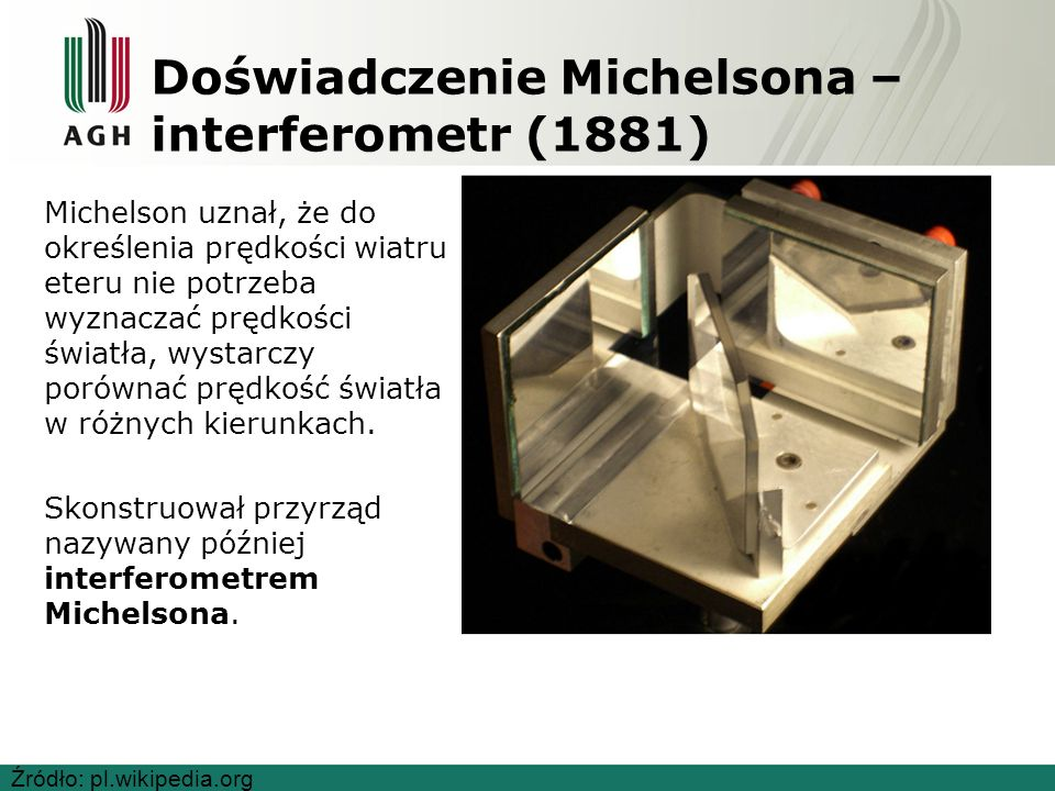 Doświadczenie Michelsona – interferometr (1881) Michelson uznał, że do określenia prędkości wiatru eteru nie potrzeba wyznaczać prędkości światła, wystarczy porównać prędkość światła w różnych kierunkach.