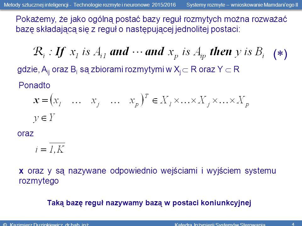 Metody sztucznej inteligencji - Technologie rozmyte i neuronowe 2015/2016 Systemy rozmyte – wnioskowanie Mamdani'ego II © Kazimierz Duzinkiewicz, dr hab.