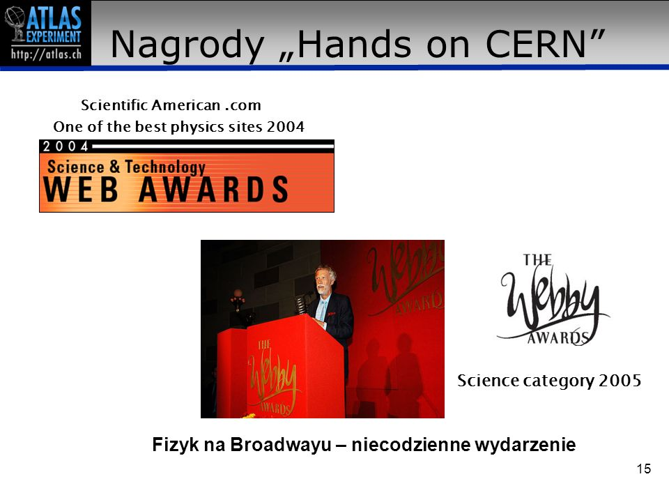 "Nagrody ""Hands on CERN"" Scientific American.com One of the best physics sites 2004 Science category 2005 Fizyk na Broadwayu – niecodzienne wydarzenie"
