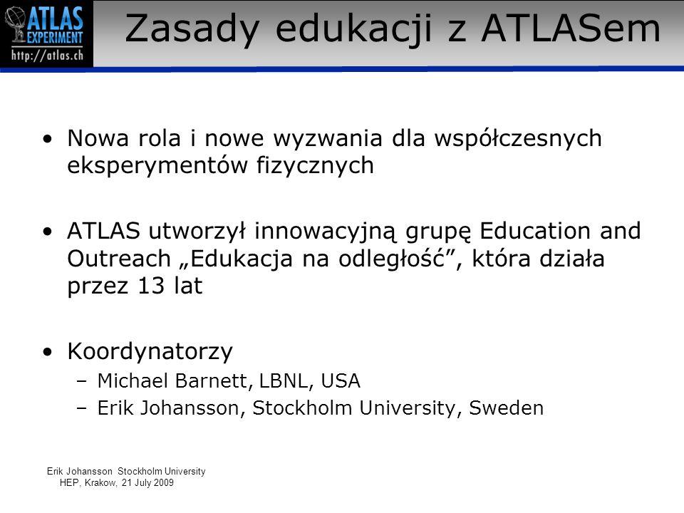 Zasady edukacji z ATLASem Nowa rola i nowe wyzwania dla współczesnych eksperymentów fizycznych ATLAS utworzył innowacyjną grupę Education and Outreach