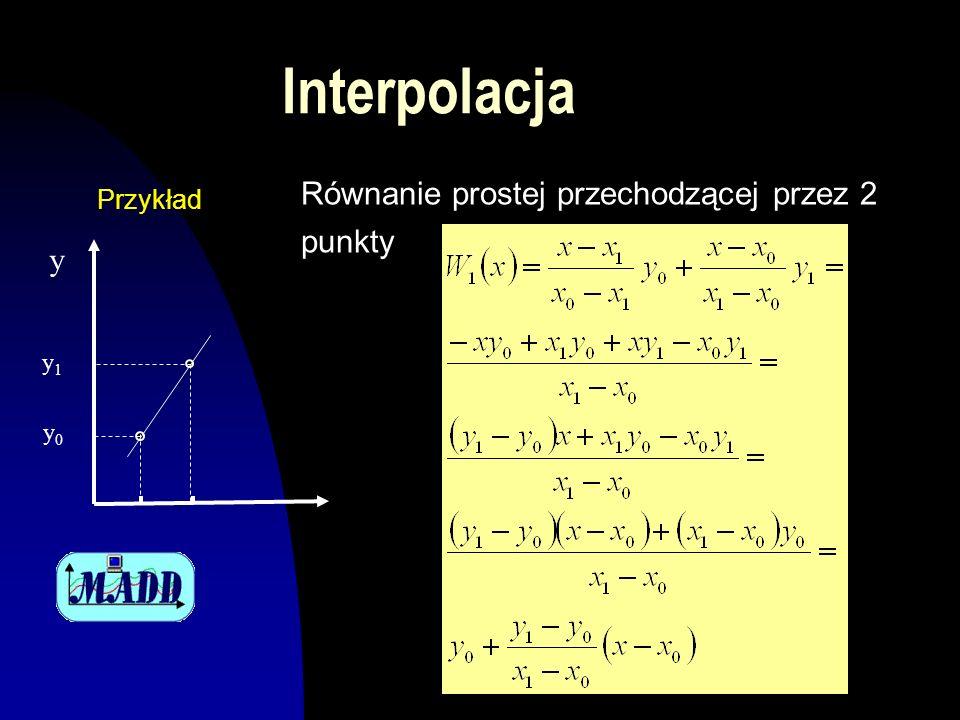 Interpolacja Równanie prostej przechodzącej przez 2 punkty Przykład y0y0 y1y1 y