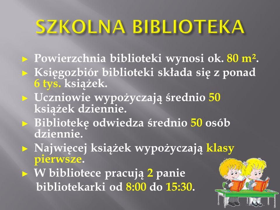 ► Powierzchnia biblioteki wynosi ok. 80 m². ► Księgozbiór biblioteki składa się z ponad 6 tys.