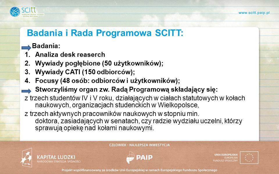 Badania i Rada Programowa SCITT: Badania: 1.Analiza desk reaserch 2.Wywiady pogłębione (50 użytkowników); 3.Wywiady CATI (150 odbiorców); 4.Focusy (48 osób: odbiorców i użytkowników); Stworzyliśmy organ zw.
