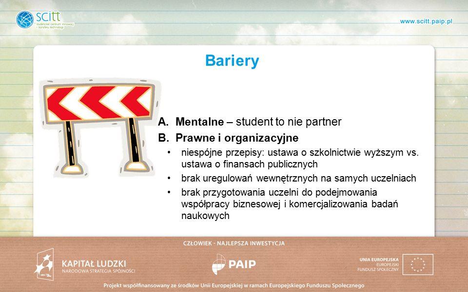 Bariery A.Mentalne – student to nie partner B.Prawne i organizacyjne niespójne przepisy: ustawa o szkolnictwie wyższym vs.