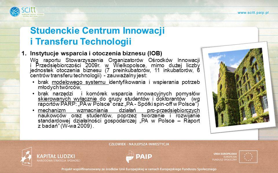1.Instytucje wsparcia i otoczenia biznesu (IOB) Wg raportu Stowarzyszenia Organizatorów Ośrodków Innowacji i Przedsiębiorczości 2009r.