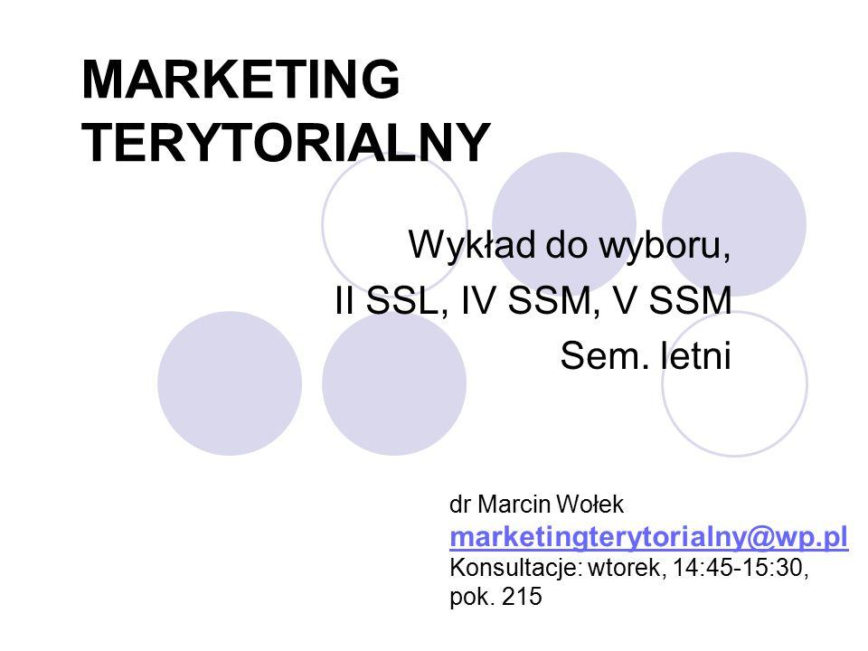 MARKETING TERYTORIALNY Wykład do wyboru, II SSL, IV SSM, V SSM Sem.