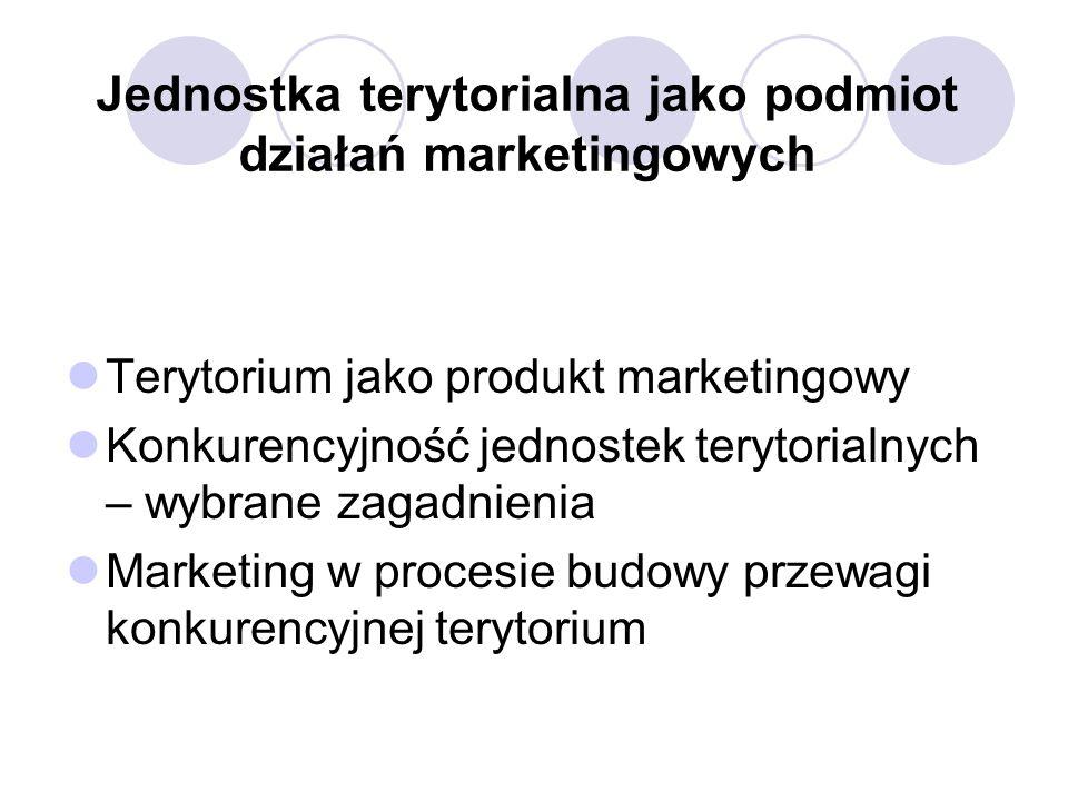 Jednostka terytorialna jako podmiot działań marketingowych Terytorium jako produkt marketingowy Konkurencyjność jednostek terytorialnych – wybrane zagadnienia Marketing w procesie budowy przewagi konkurencyjnej terytorium
