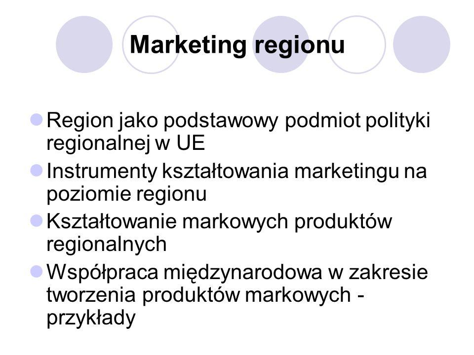 Marketing regionu Region jako podstawowy podmiot polityki regionalnej w UE Instrumenty kształtowania marketingu na poziomie regionu Kształtowanie markowych produktów regionalnych Współpraca międzynarodowa w zakresie tworzenia produktów markowych - przykłady