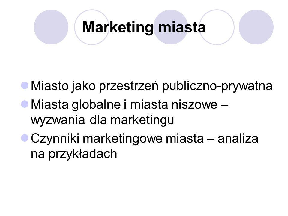 Marketing miasta Miasto jako przestrzeń publiczno-prywatna Miasta globalne i miasta niszowe – wyzwania dla marketingu Czynniki marketingowe miasta – analiza na przykładach