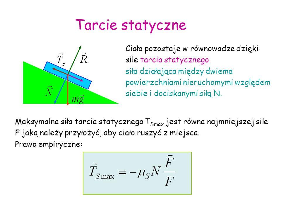 F=0 FTsTs TkTk Przyłożona siła jest mała - stan spoczynku siła tarcia rośnie proporcjonalnie do przyłożonej siły gdy przyłożona siła przekroczy wartość ciało zaczyna się poruszać – tarcie kinetyczne F T ruch przyspieszony ruch jednostajny