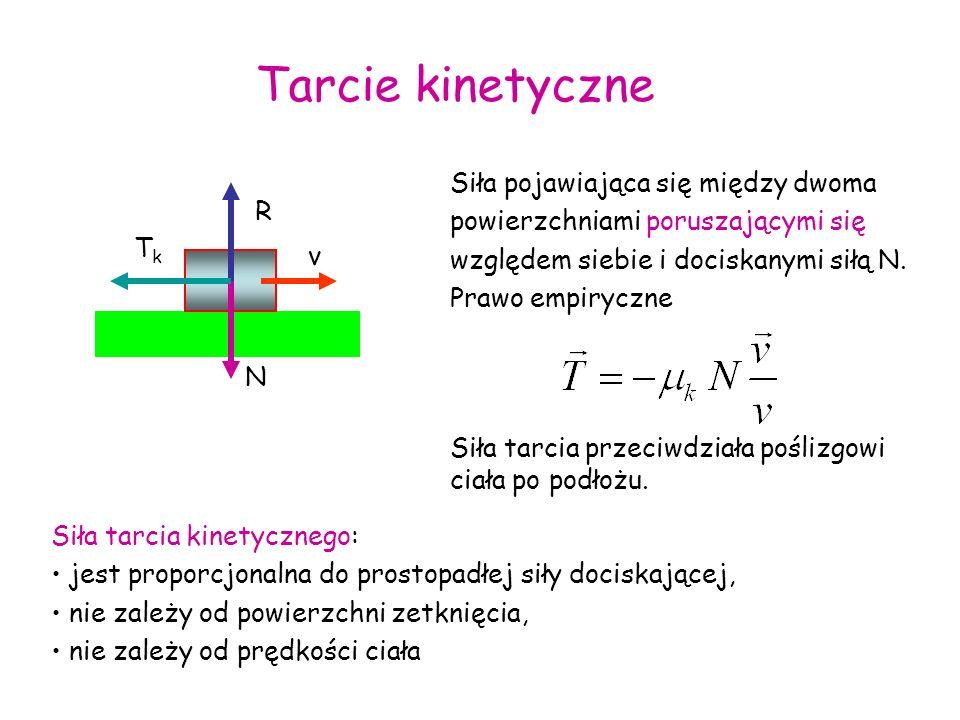 TkTk R N v Tarcie kinetyczne Siła pojawiająca się między dwoma powierzchniami poruszającymi się względem siebie i dociskanymi siłą N. Prawo empiryczne