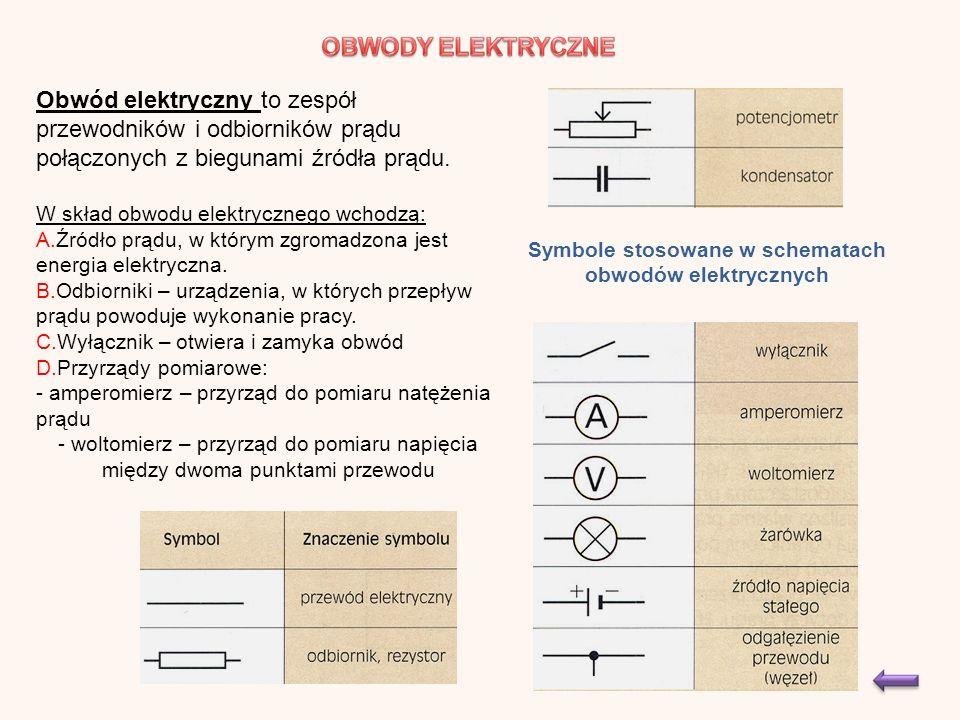 Obwód elektryczny to zespół przewodników i odbiorników prądu połączonych z biegunami źródła prądu.