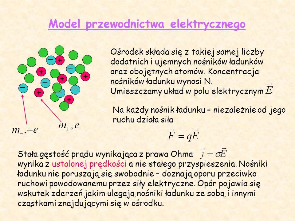 Stała gęstość prądu wynikająca z prawa Ohma wynika z ustalonej prędkości a nie stałego przyspieszenia.