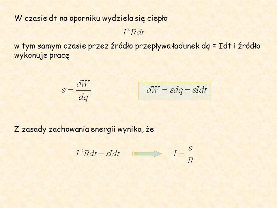 W czasie dt na oporniku wydziela się ciepło w tym samym czasie przez źródło przepływa ładunek dq = Idt i źródło wykonuje pracę Z zasady zachowania energii wynika, że