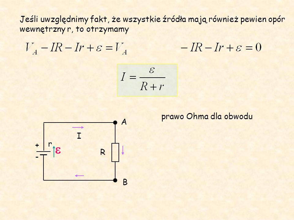 Jeśli uwzględnimy fakt, że wszystkie źródła mają również pewien opór wewnętrzny r, to otrzymamy R - + I A B r prawo Ohma dla obwodu 