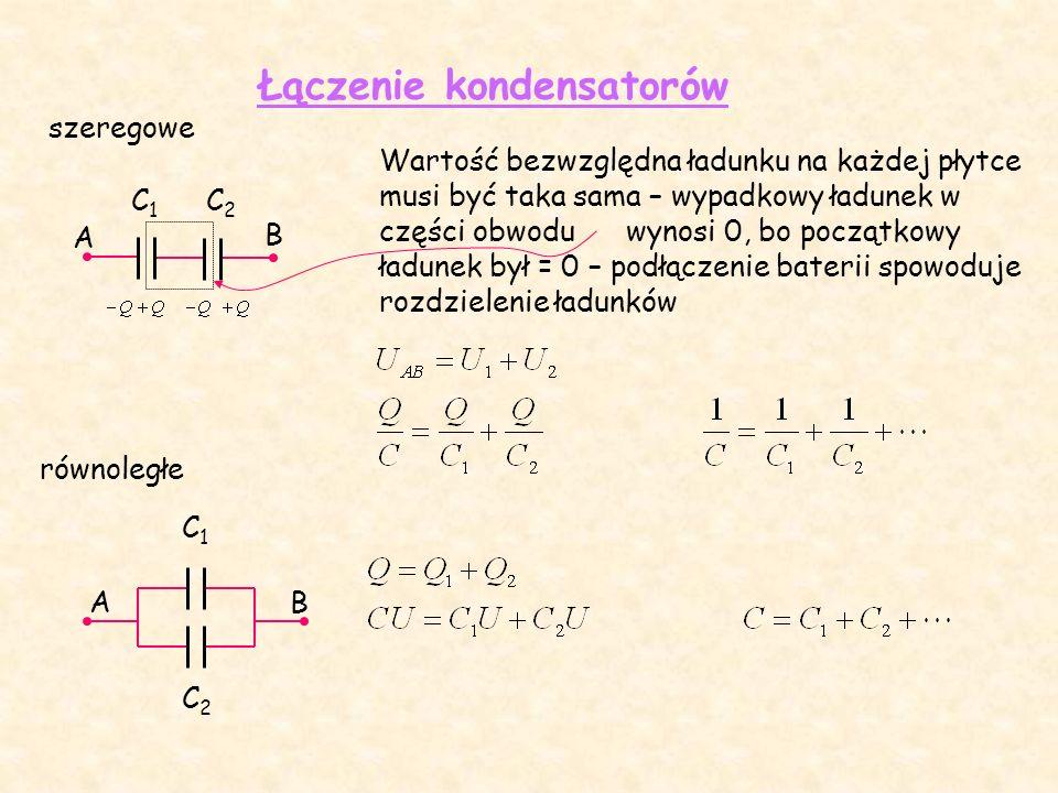 Łączenie kondensatorów A C1C1 C2C2 AB C1C1 C2C2 szeregowe równoległe B Wartość bezwzględna ładunku na każdej płytce musi być taka sama – wypadkowy ładunek w części obwodu wynosi 0, bo początkowy ładunek był = 0 – podłączenie baterii spowoduje rozdzielenie ładunków