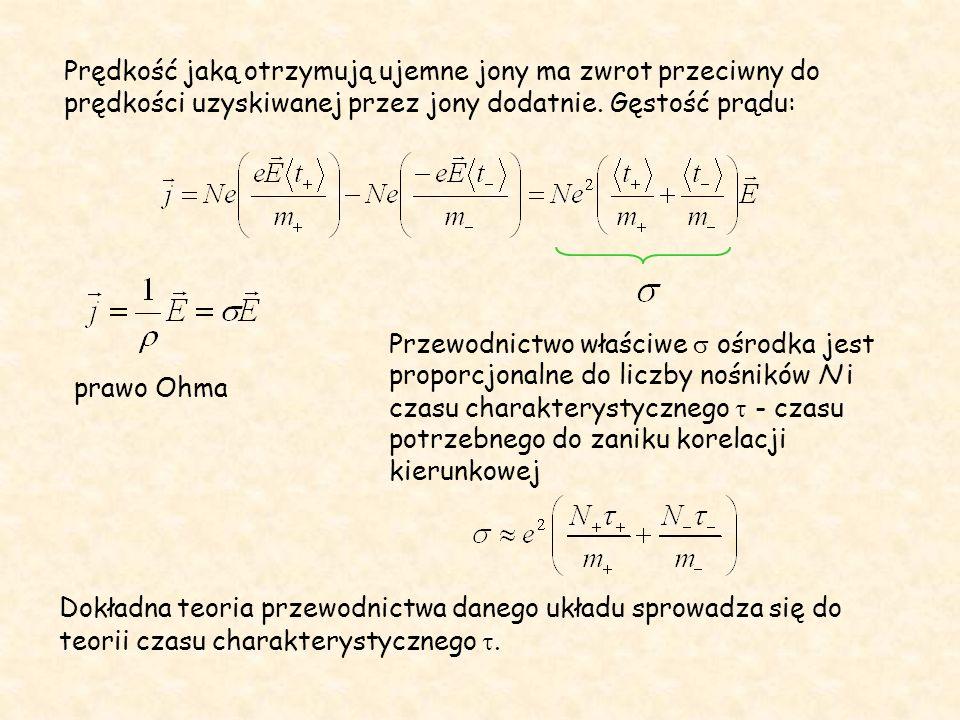 Prędkość jaką otrzymują ujemne jony ma zwrot przeciwny do prędkości uzyskiwanej przez jony dodatnie.