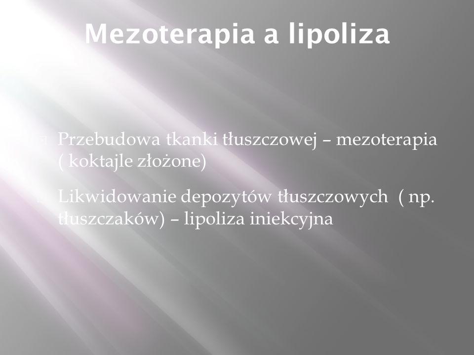 Mezoterapia a lipoliza  Przebudowa tkanki tłuszczowej – mezoterapia ( koktajle złożone)  Likwidowanie depozytów tłuszczowych ( np.