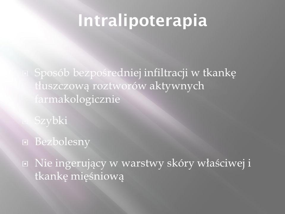 Intralipoterapia  Sposób bezpośredniej infiltracji w tkankę tłuszczową roztworów aktywnych farmakologicznie  Szybki  Bezbolesny  Nie ingerujący w warstwy skóry właściwej i tkankę mięśniową