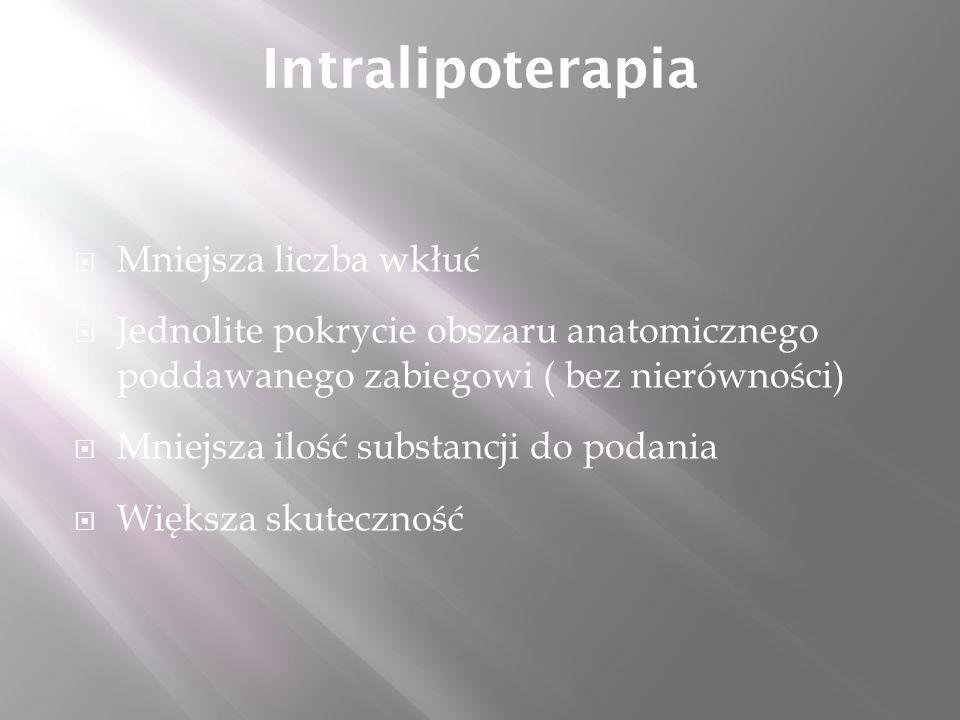Intralipoterapia  Mniejsza liczba wkłuć  Jednolite pokrycie obszaru anatomicznego poddawanego zabiegowi ( bez nierówności)  Mniejsza ilość substancji do podania  Większa skuteczność