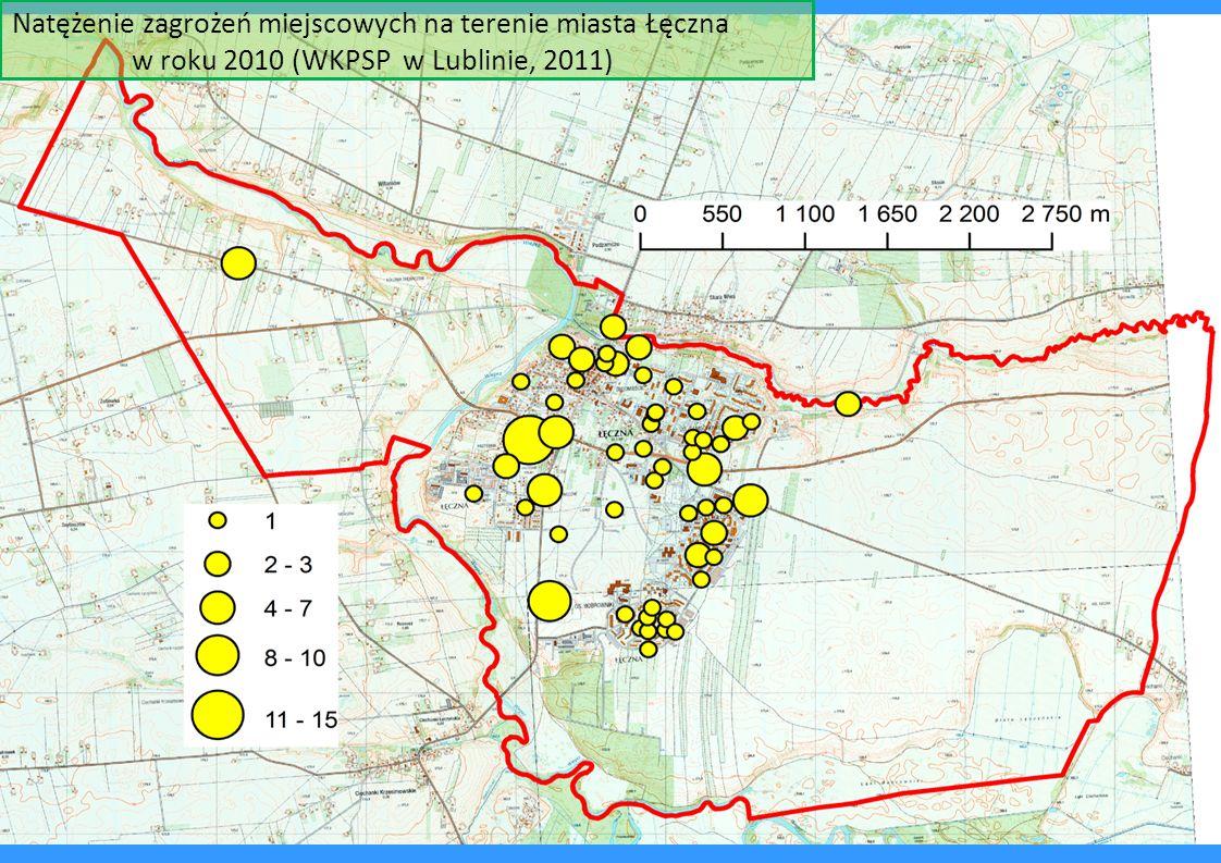 Natężenie zagrożeń miejscowych na terenie miasta Łęczna w roku 2010 (WKPSP w Lublinie, 2011)