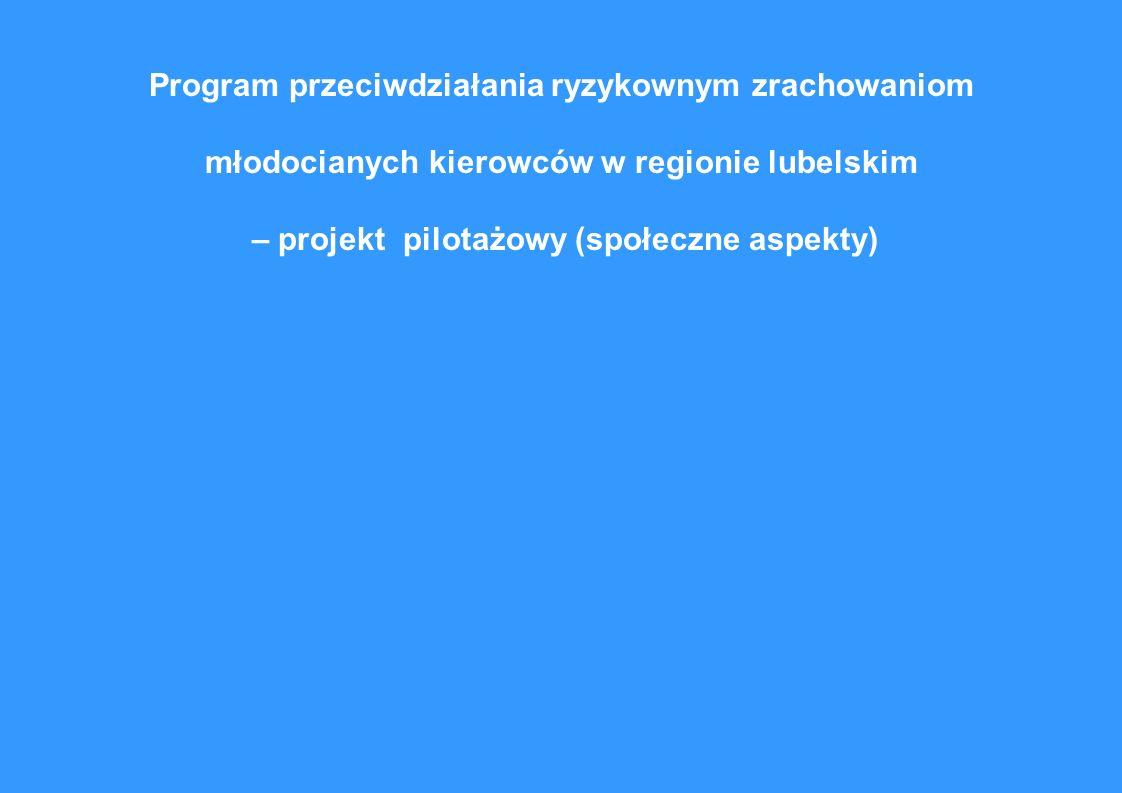 Program przeciwdziałania ryzykownym zrachowaniom młodocianych kierowców w regionie lubelskim – projekt pilotażowy (społeczne aspekty)