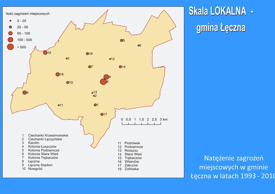 Natężenie zagrożeń miejscowych w gminie Łęczna w latach 1993 - 2010