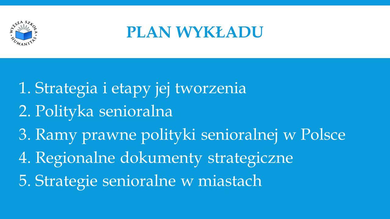 PLAN WYKŁADU 1.Strategia i etapy jej tworzenia 2.Polityka senioralna 3.Ramy prawne polityki senioralnej w Polsce 4.Regionalne dokumenty strategiczne 5.Strategie senioralne w miastach