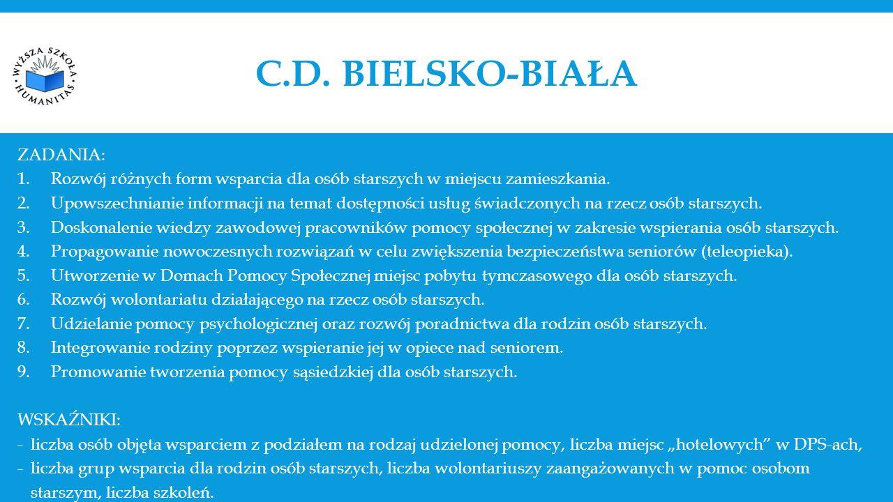 C.D. BIELSKO-BIAŁA ZADANIA: 1.Rozwój różnych form wsparcia dla osób starszych w miejscu zamieszkania. 2.Upowszechnianie informacji na temat dostępnośc