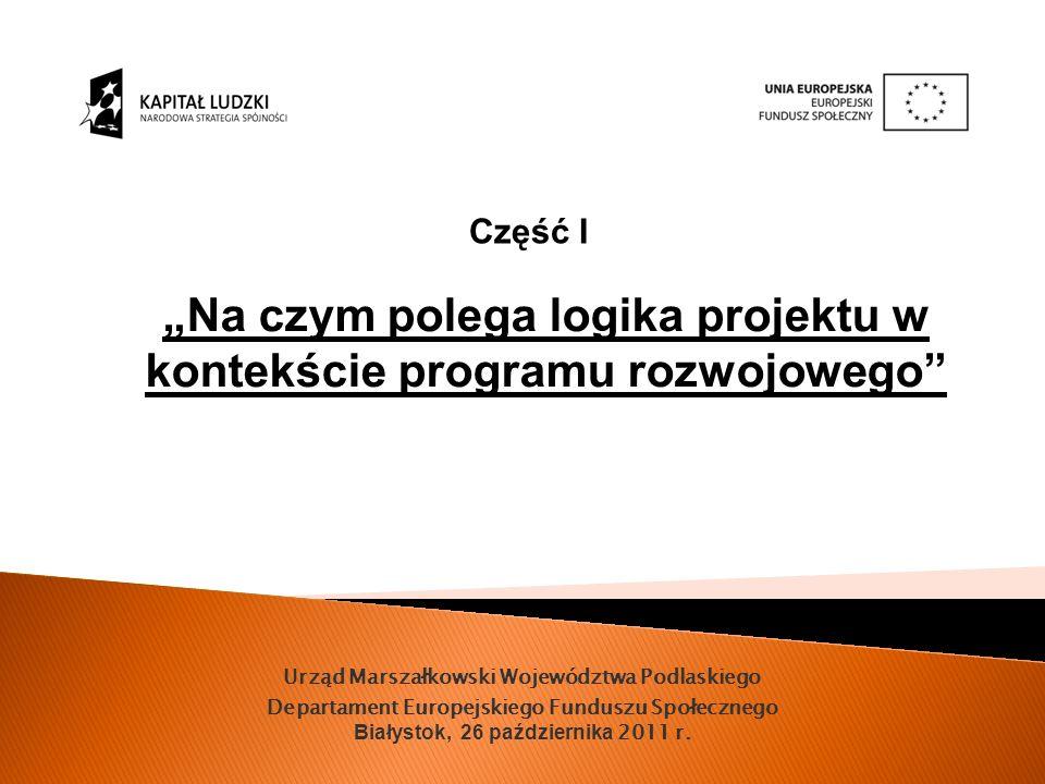 Urząd Marszałkowski Województwa Podlaskiego Departament Europejskiego Funduszu Społecznego Białystok, 26 października 2011 r.
