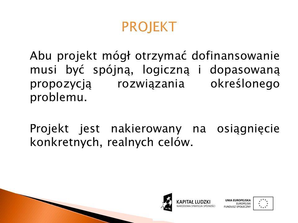 Abu projekt mógł otrzymać dofinansowanie musi być spójną, logiczną i dopasowaną propozycją rozwiązania określonego problemu.