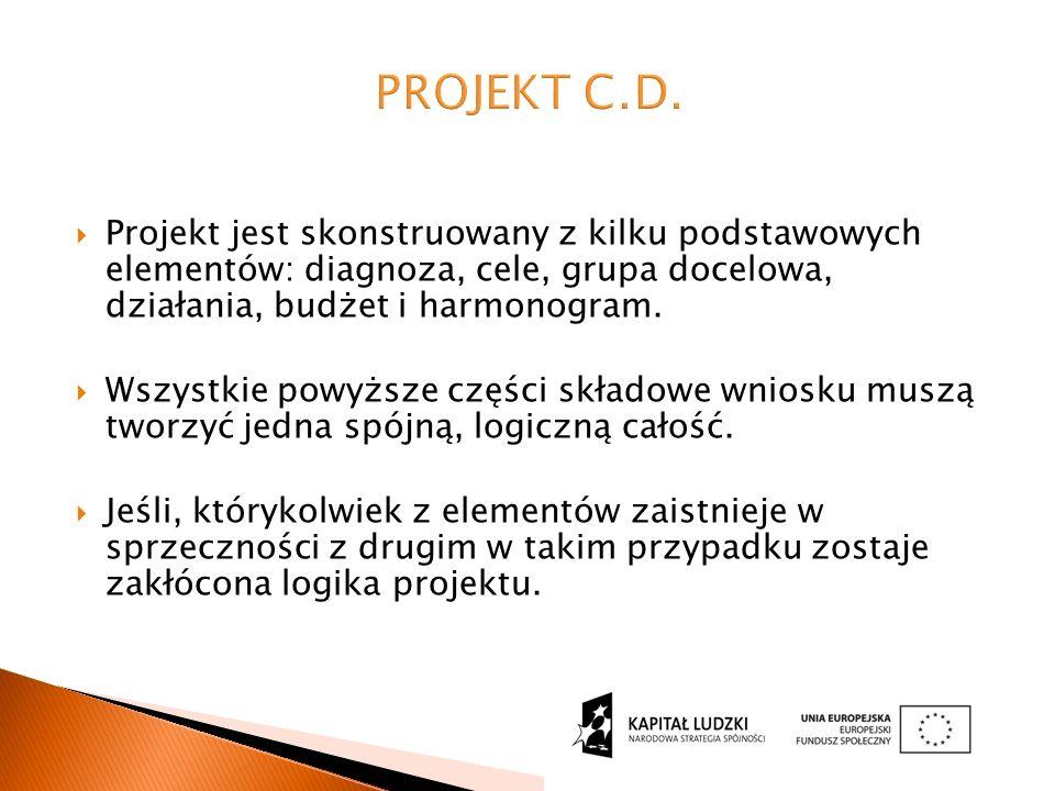  Projekt jest skonstruowany z kilku podstawowych elementów: diagnoza, cele, grupa docelowa, działania, budżet i harmonogram.