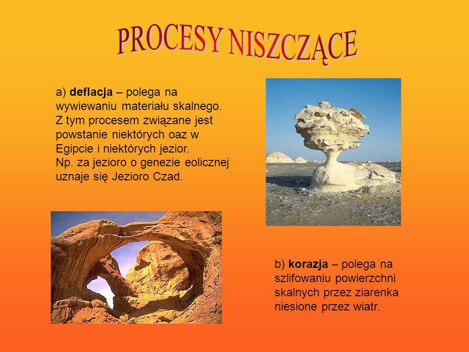 a) deflacja – polega na wywiewaniu materiału skalnego. Z tym procesem związane jest powstanie niektórych oaz w Egipcie i niektórych jezior. Np. za jez