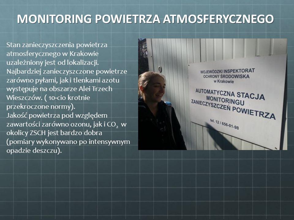MONITORING POWIETRZA ATMOSFERYCZNEGO Stan zanieczyszczenia powietrza atmosferycznego w Krakowie uzależniony jest od lokalizacji. Najbardziej zanieczys