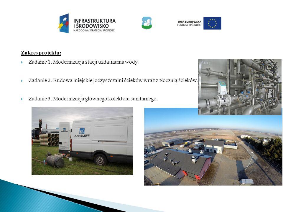 Zakres projektu:  Zadanie 1. Modernizacja stacji uzdatniania wody.