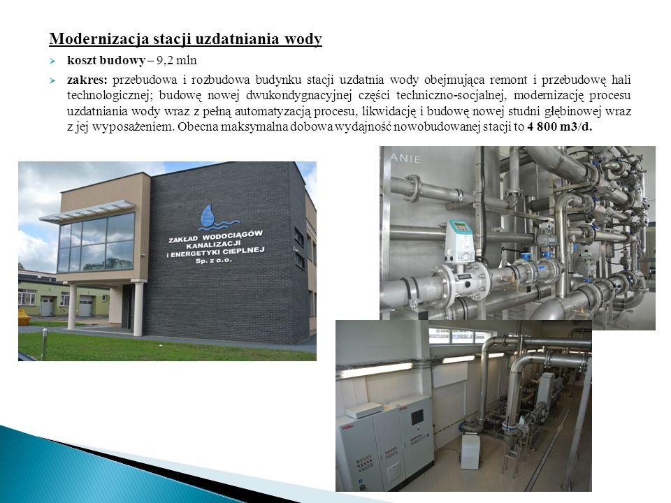 Modernizacja stacji uzdatniania wody  koszt budowy – 9,2 mln  zakres: przebudowa i rozbudowa budynku stacji uzdatnia wody obejmująca remont i przebudowę hali technologicznej; budowę nowej dwukondygnacyjnej części techniczno-socjalnej, modernizację procesu uzdatniania wody wraz z pełną automatyzacją procesu, likwidację i budowę nowej studni głębinowej wraz z jej wyposażeniem.