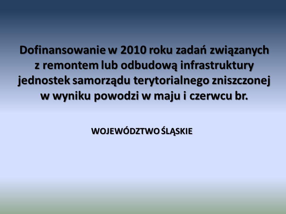 Dofinansowanie w 2010 roku zadań związanych z remontem lub odbudową infrastruktury jednostek samorządu terytorialnego zniszczonej w wyniku powodzi w m